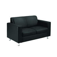 Avior Leather Faced Executive Reception Sofa Black KF03530