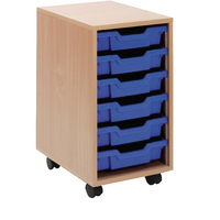 Jemini Mobile Storage Unit 6 Blue Trays Beech KF72338