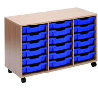 Jemini Mobile Storage Unit 18 Blue Trays Beech KF72340