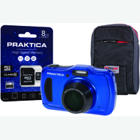 Praktica Luxmedia WP240 Waterproof 20mp Camera Plus 8GB Card and Case WP240-BL 8GBCASE