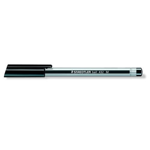 Staedtler 432 Triangular Barrel Ballpoint Pen Medium Black