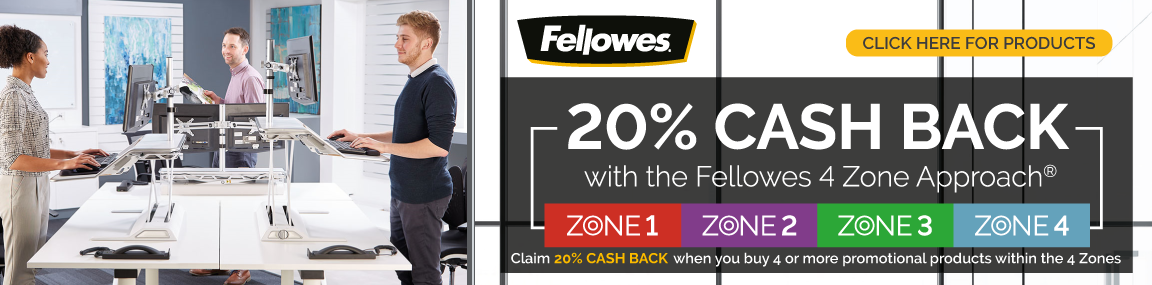 20% Cashback with Fellowes 4 Zone Approach Banner Image