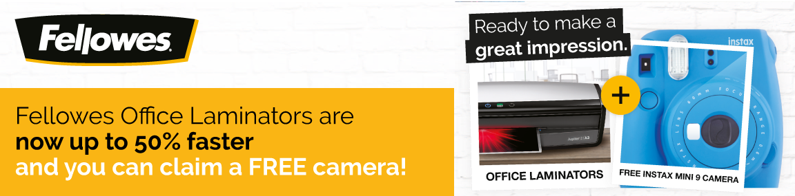 FREE camera with Fellowes Laminators! Banner Image
