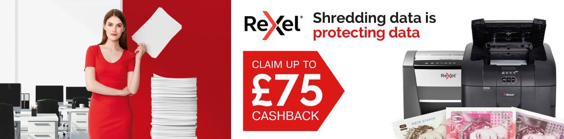 Up to £75 Cashback on Rexel shredders Banner Image