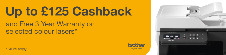 Up to £125 Cashback on Brother! Banner Image