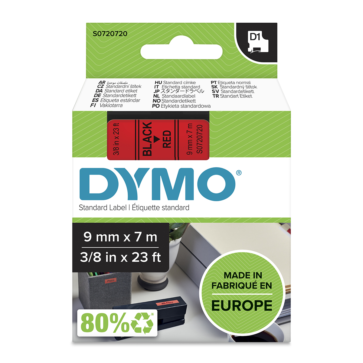 Dymo 40917 D1 9mm x 7m Black on Red Tape