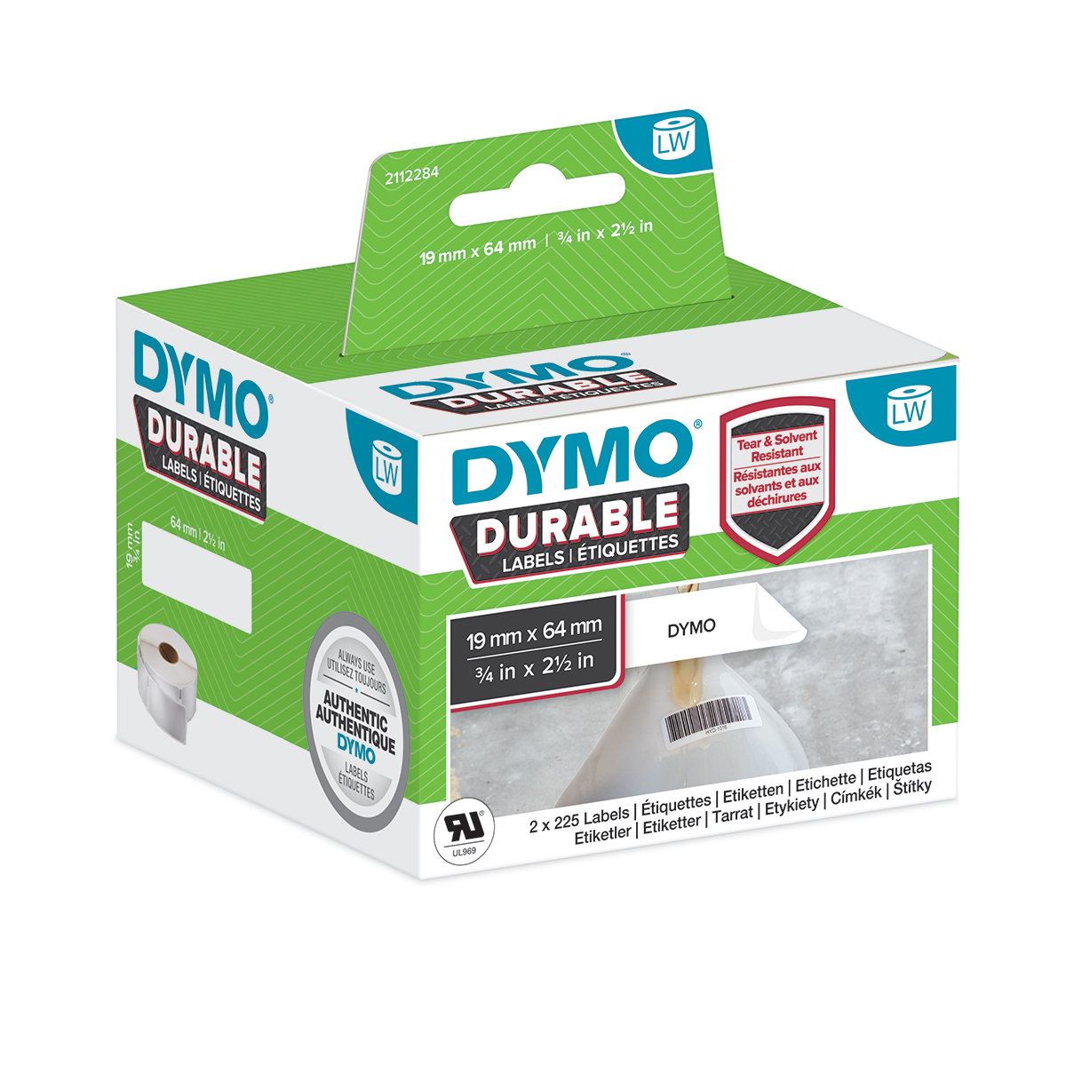Dymo 2112284 LW Durable Barcode label 19mm x 64mm Black on White