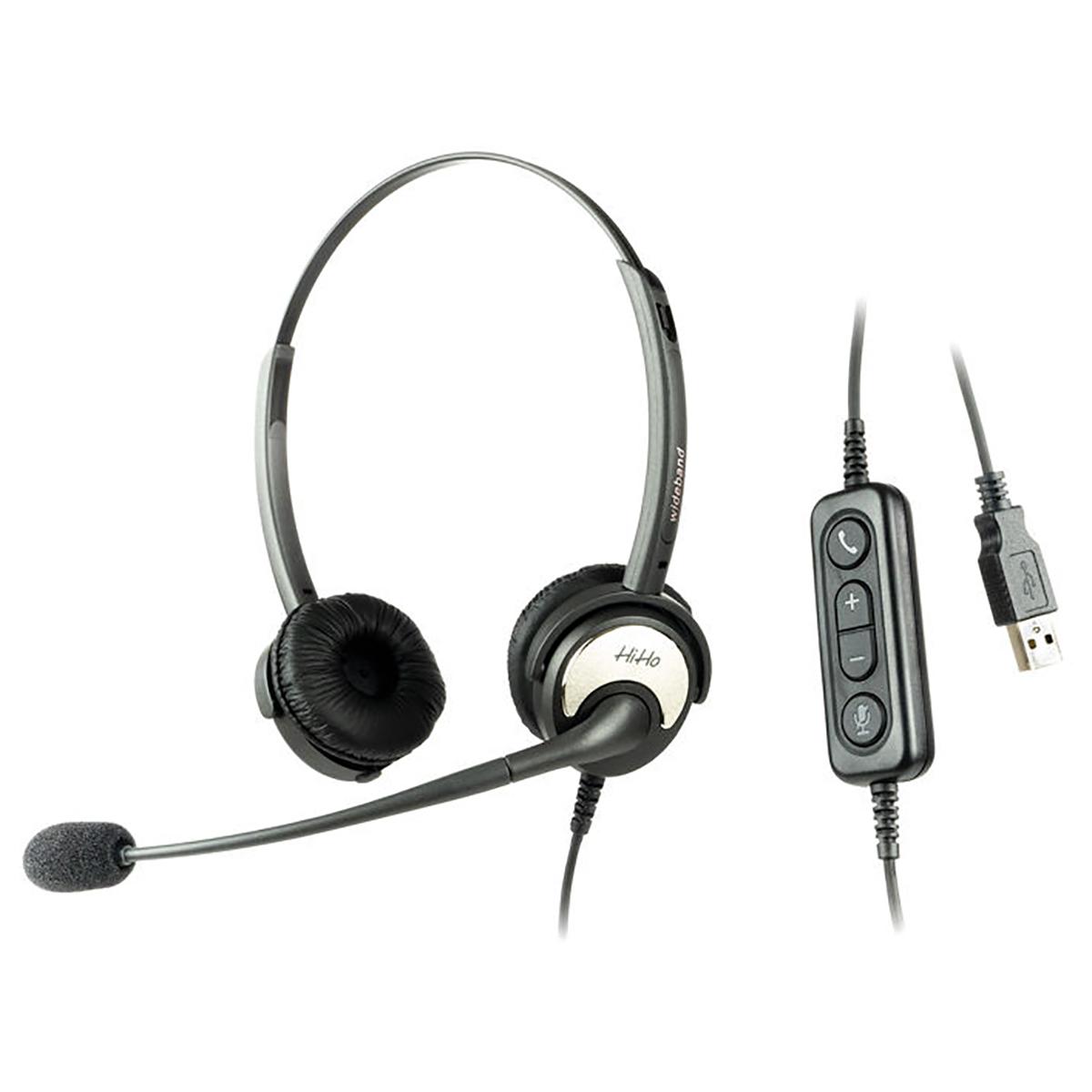 HiHo 250U Binaural USB Headset with Boom Mic