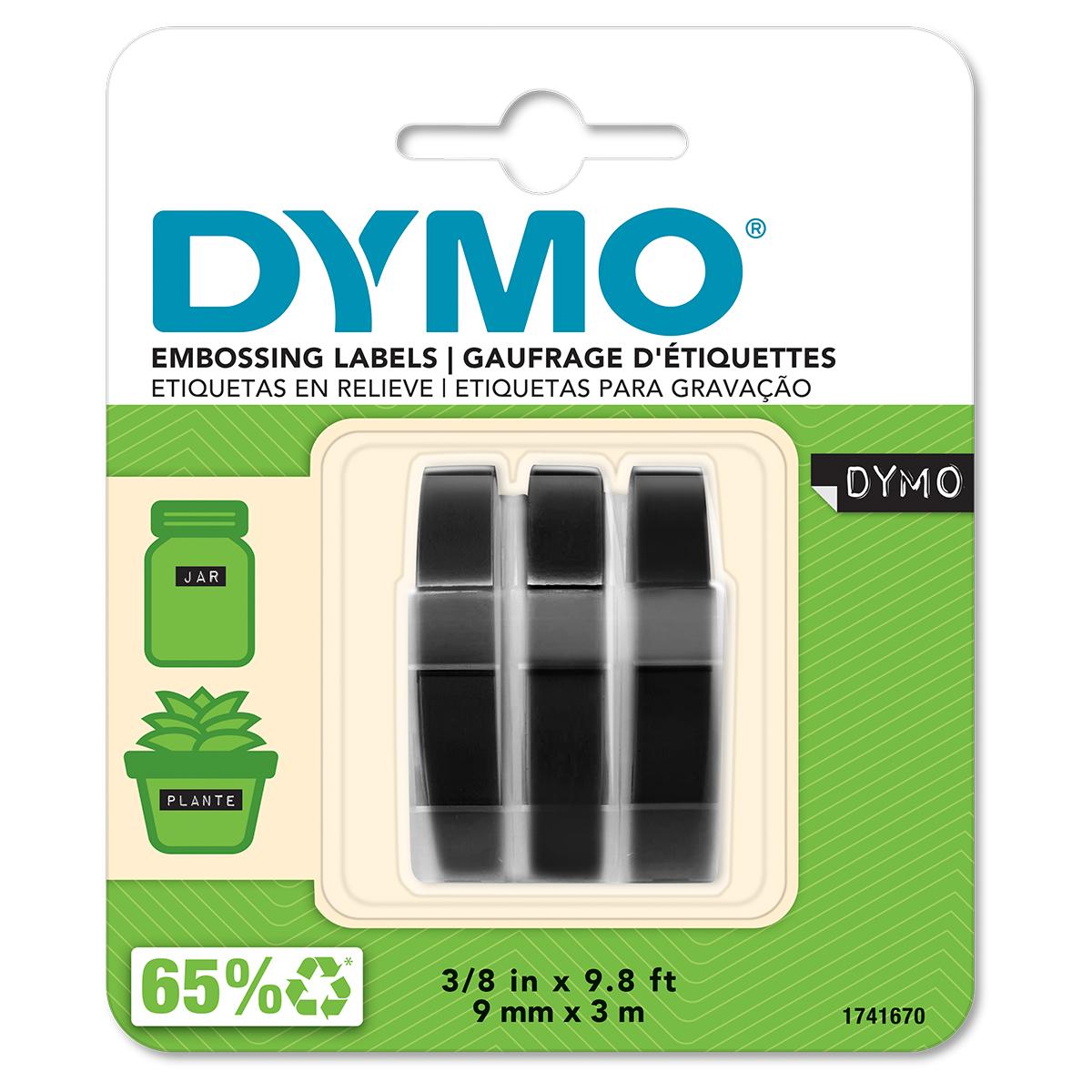 Dymo S0847730 White on Black Embossing Tape Pack of 3