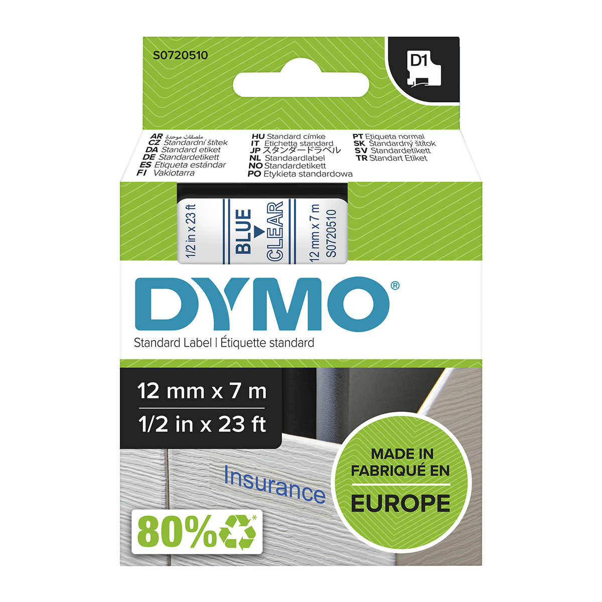 Dymo 45011 D1 12mm x 7m Blue on Clear Tape