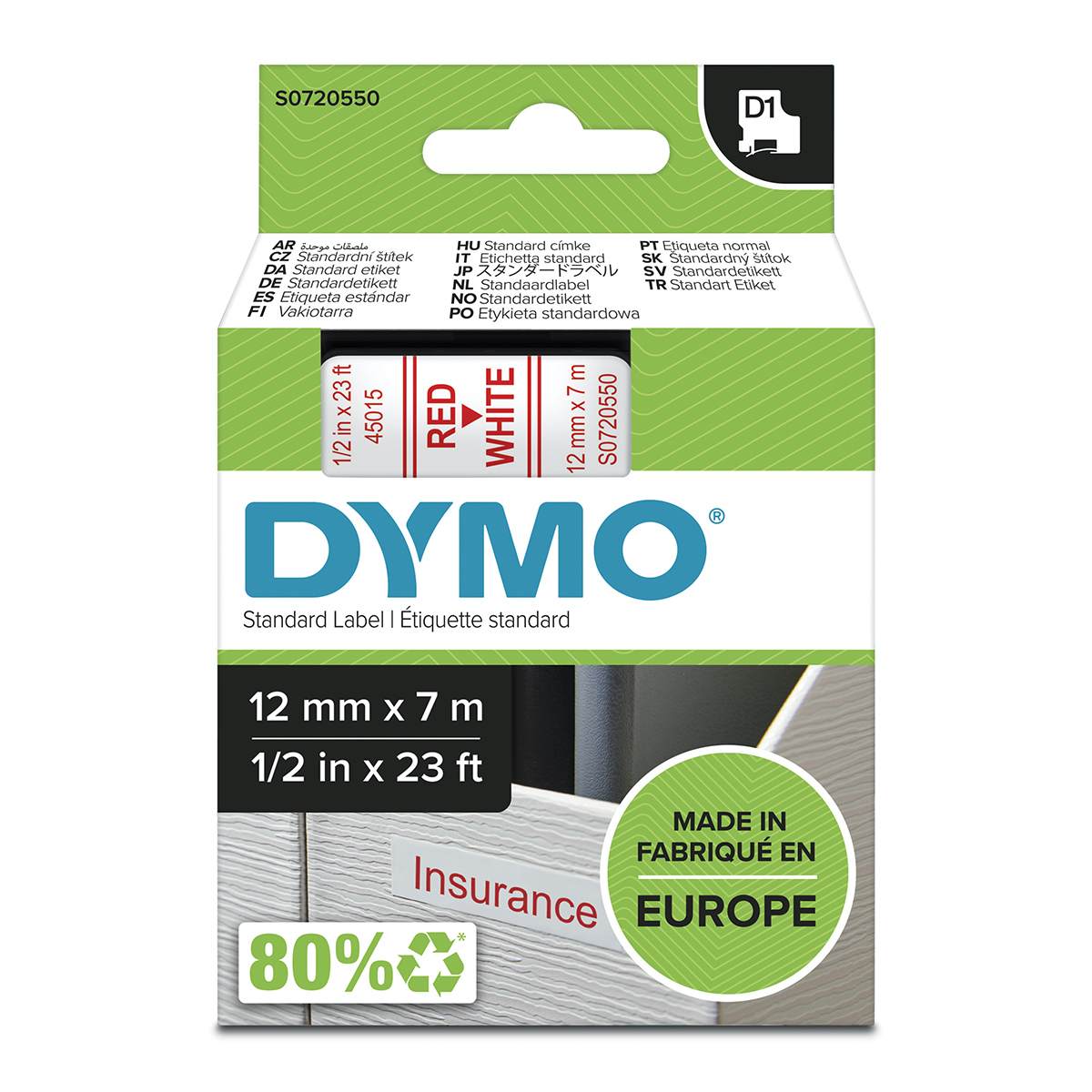 Dymo 45015 D1 12mm x 7m Red on White Tape