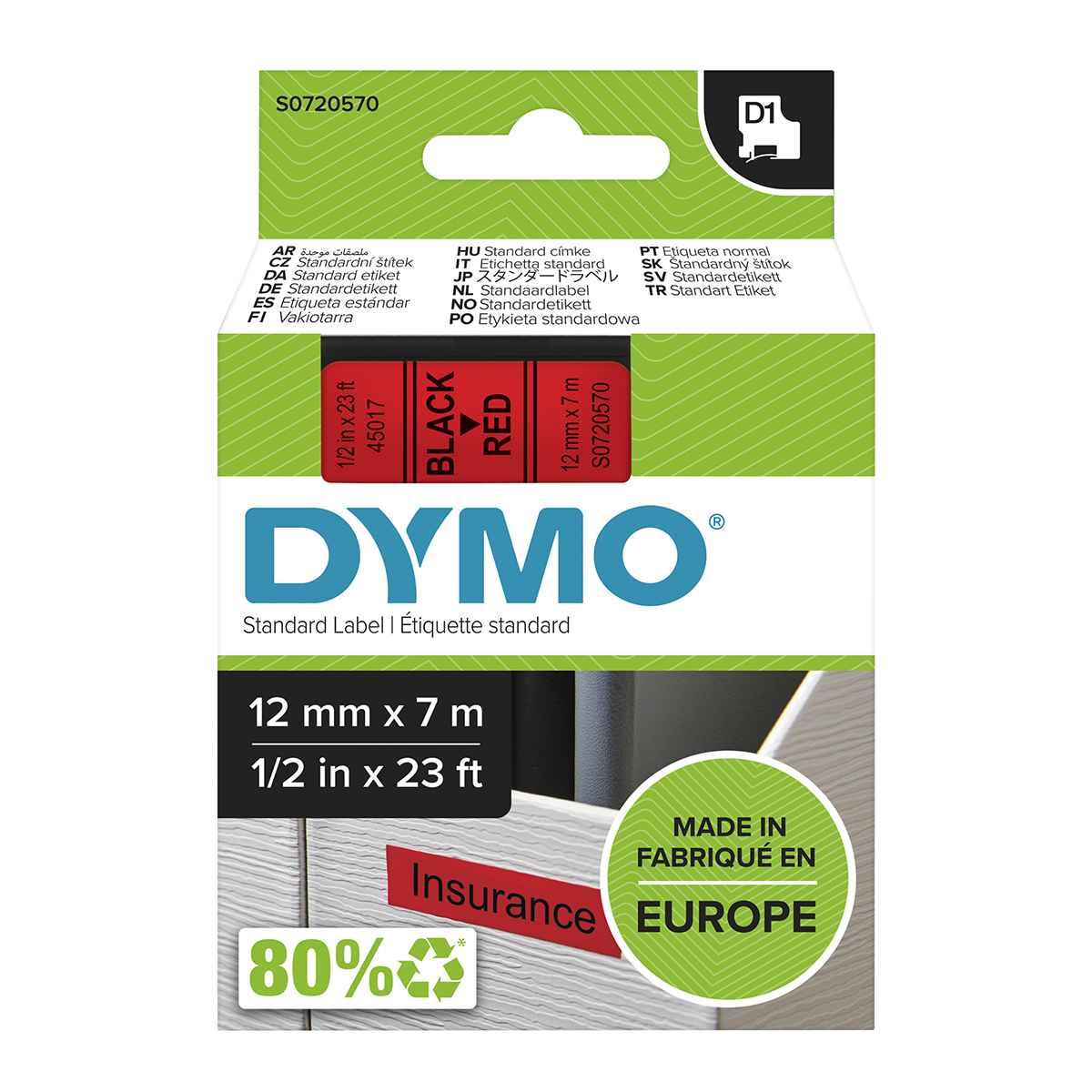 Dymo 45017 D1 12mm x 7m Black on Red Tape