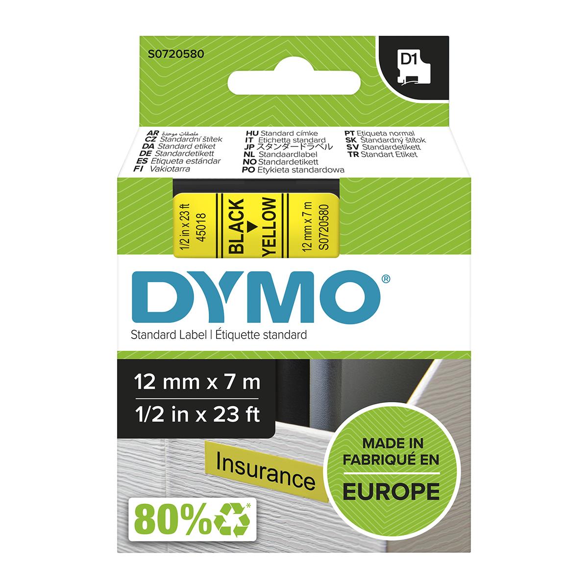 Dymo 45018 D1 12mm x 7m Black on Yellow Tape