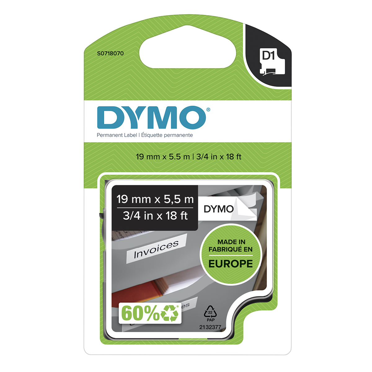 Dymo 16960 19mm x 5.5m Black on White Polyester labels
