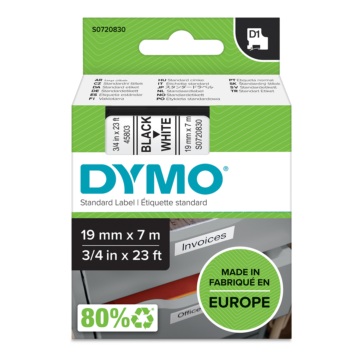 Dymo 45803 D1 19mm x 7m Black on White Tape