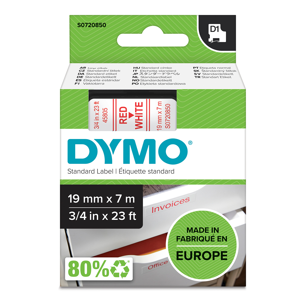 Dymo 45805 19mm x 7m Red on White Tape