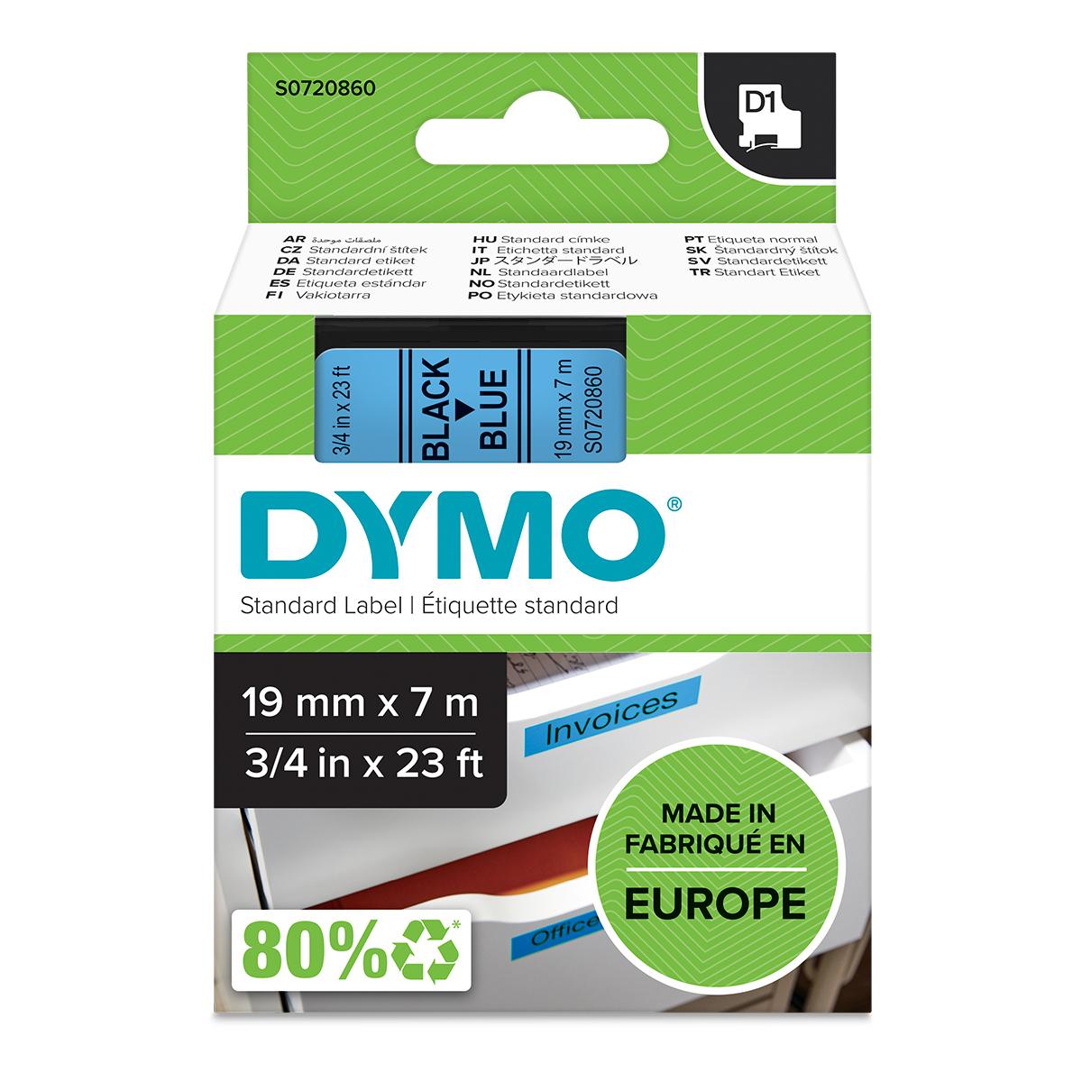 Dymo 45806 19mm x 7m Black on Blue Tape