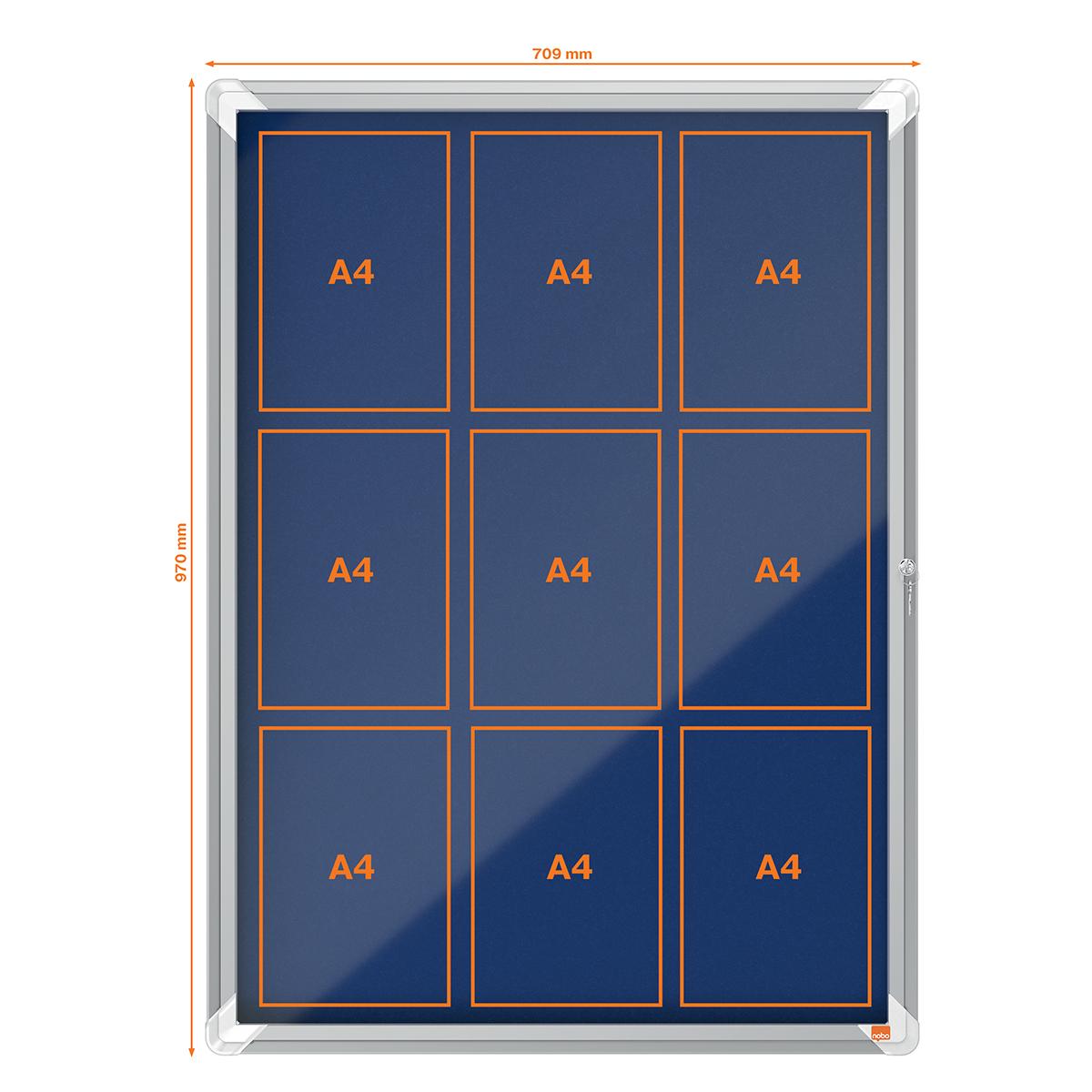 Nobo 1902556 Internal Glazed Case Blue Felt 9 x A4