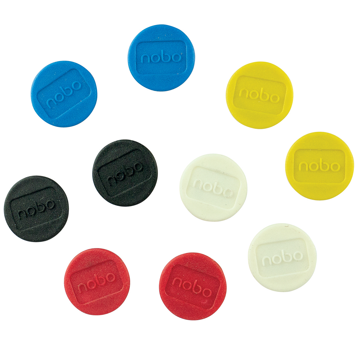 Nobo 1901016 Magnetic 20mm Assorted Whiteboard Magnets Pack of 10