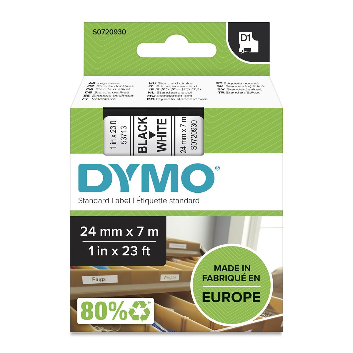 Dymo 53713 24mm x 7m Black on White Tape