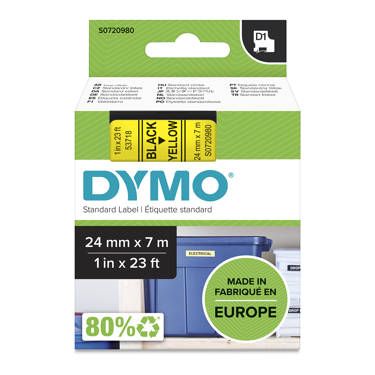 Dymo 53718 24mm x 7m Black on Yellow Tape