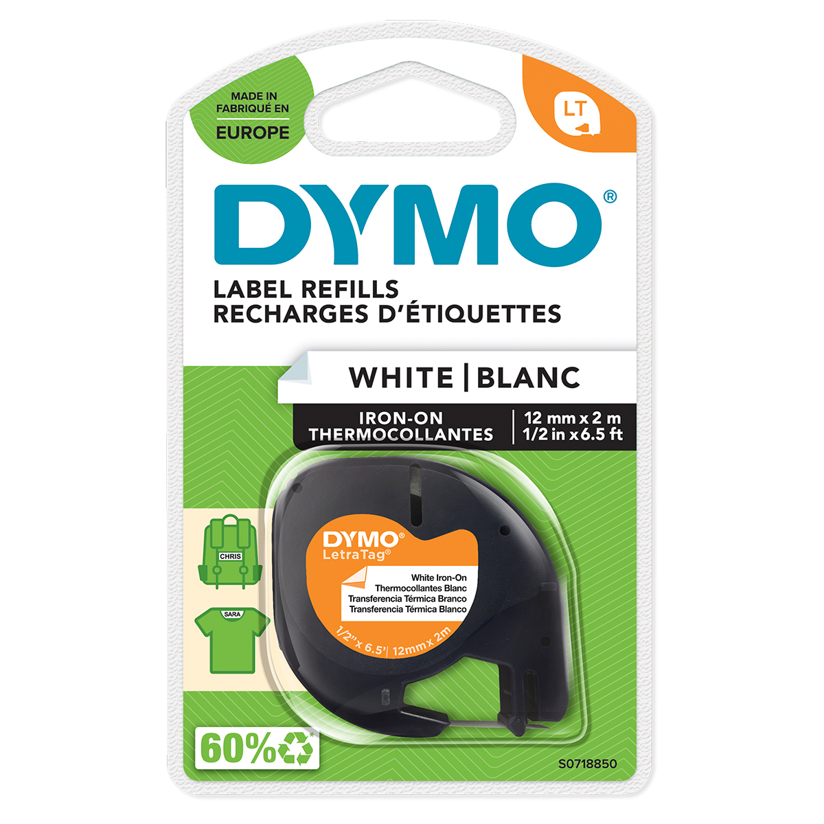 Dymo 18769 12mm x 2m Black on White Iron on Tape