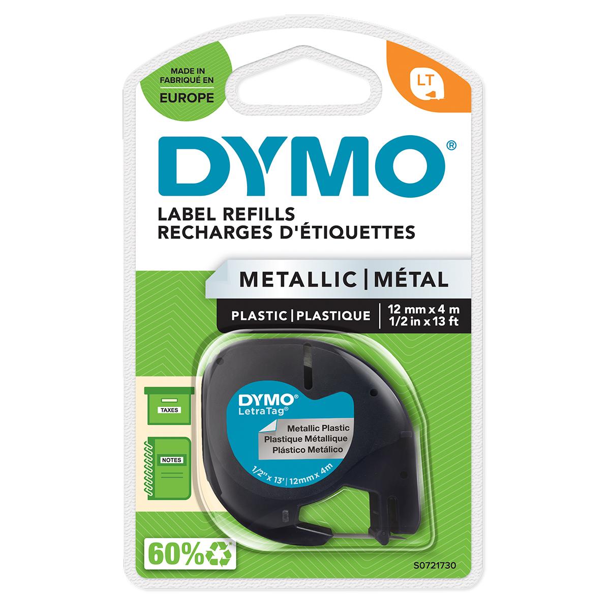 Dymo 91208 12mm x 4m Black On Metallic Silver Tape
