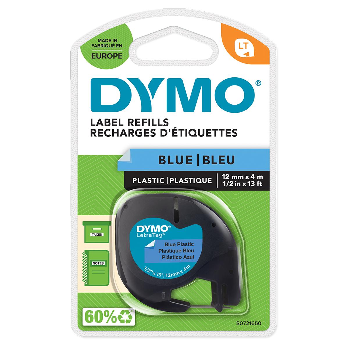 Dymo 91205 12mm x 4m Black On Blue Plastic Tape
