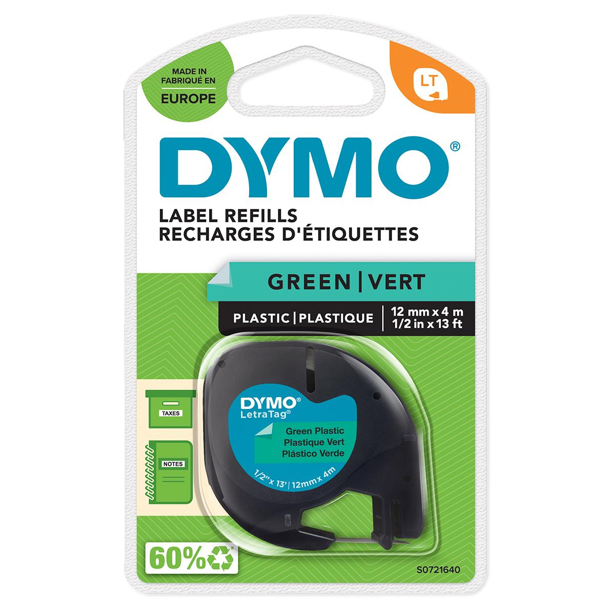 Dymo 91204 12mm x 4m Black On Green Plastic Tape