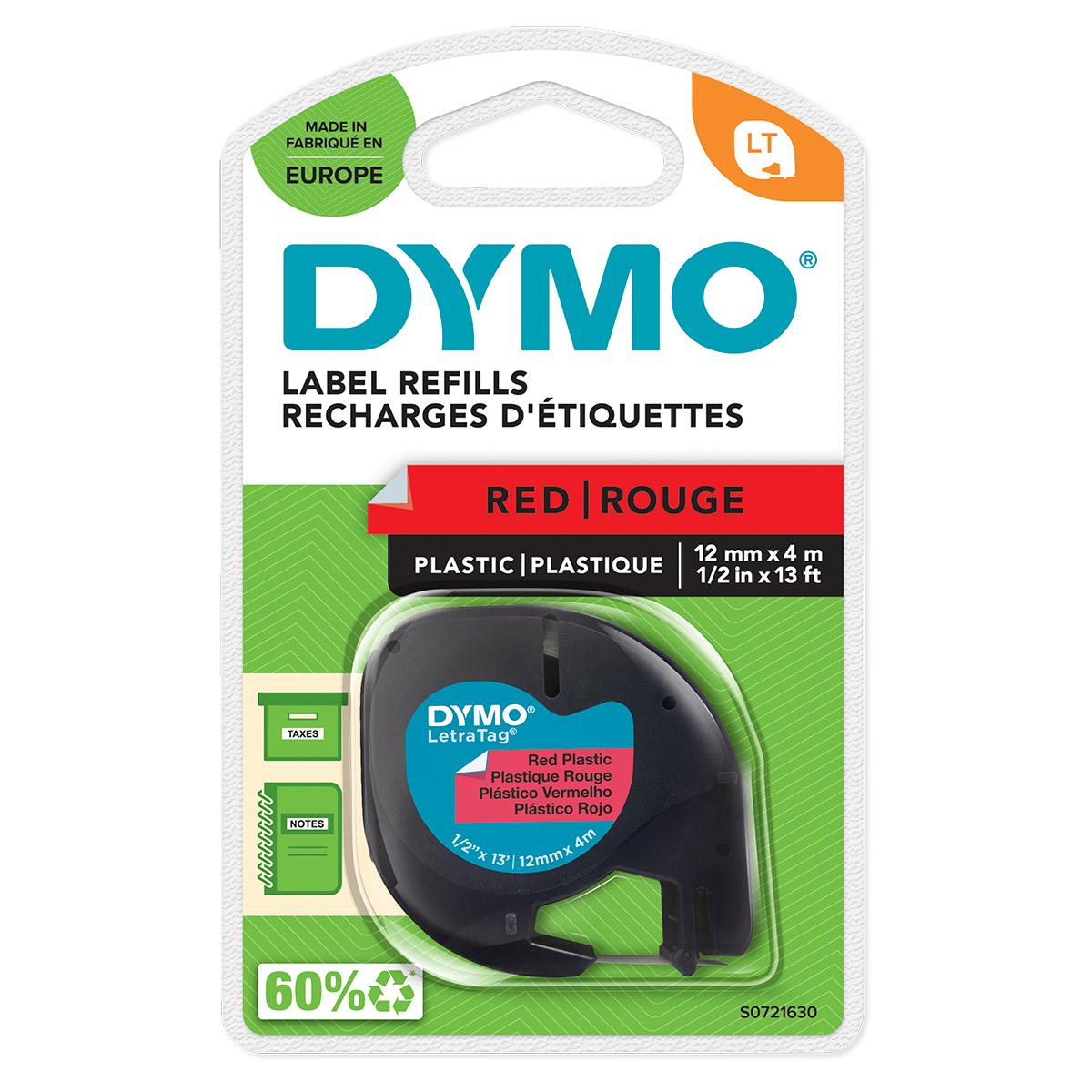 Dymo 91203 12mmx4m Black On Red Plastic Tape