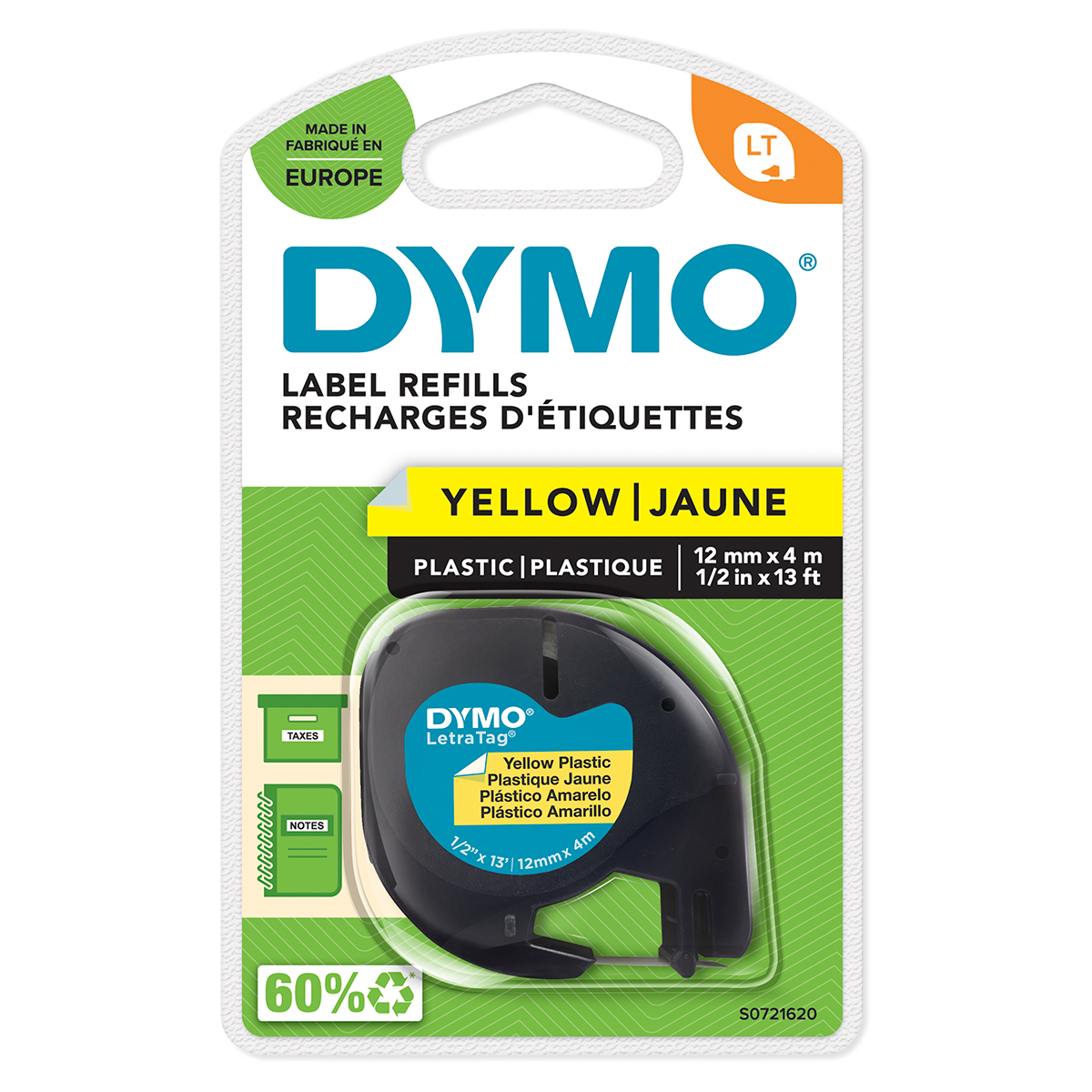 Dymo 91202 12mmx4m Black On Yellow Plastic Tape