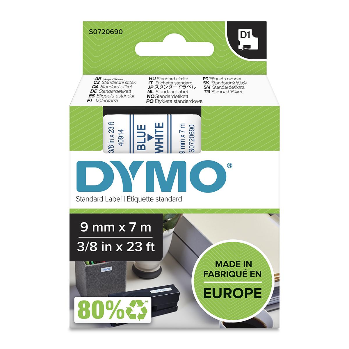 Dymo 40914 D1 9mm x 7m Blue on White Tape