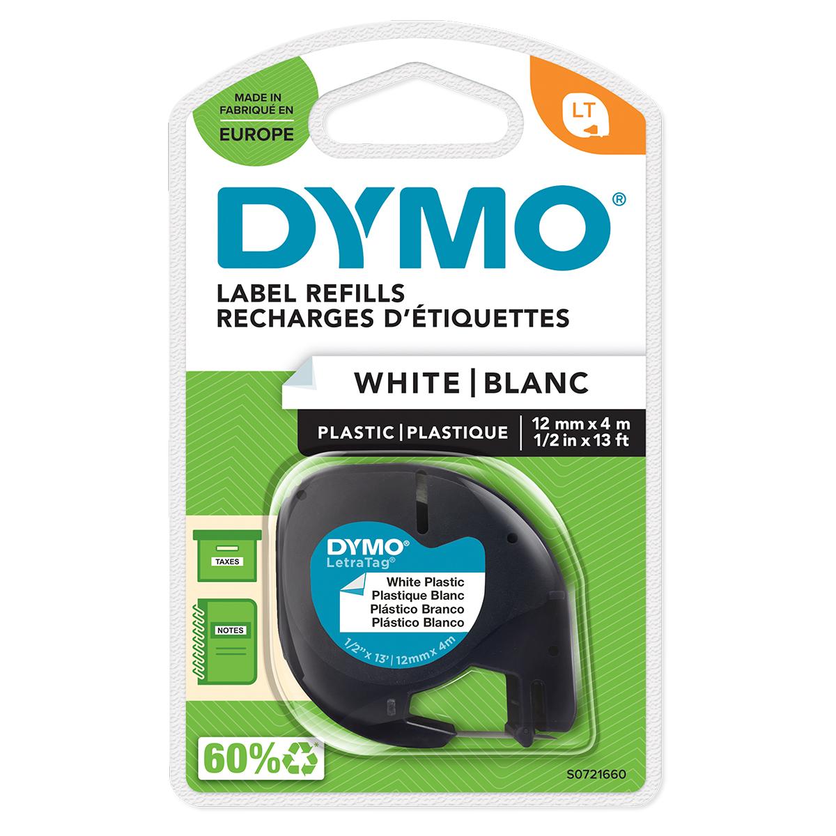 Dymo 91201 12mm x 4m Black On White Plastic Tape