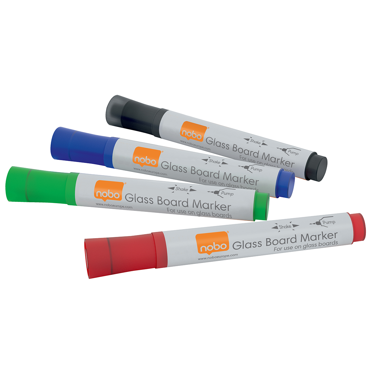 Nobo 1905324 Glass Whiteboard Markers pack of 4