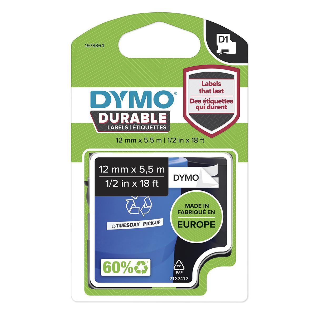 Dymo 1978364 D1 Durable 12mm x 5.5M Tape Black on White