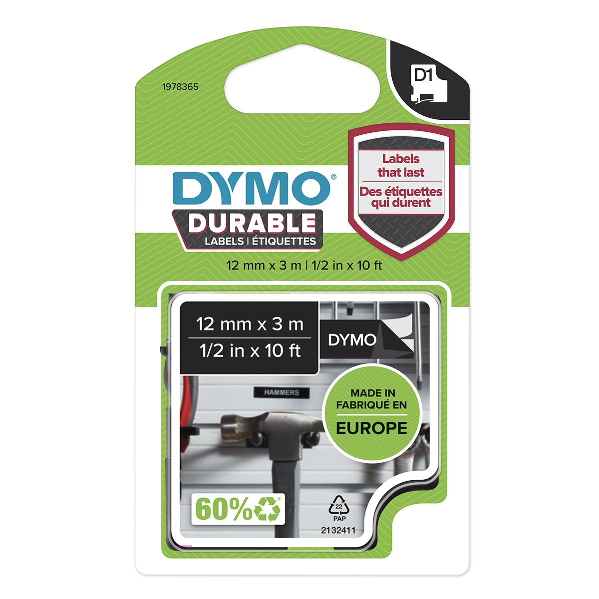 Dymo 1978365 D1 Durable 12mm x 3M Tape White on Black