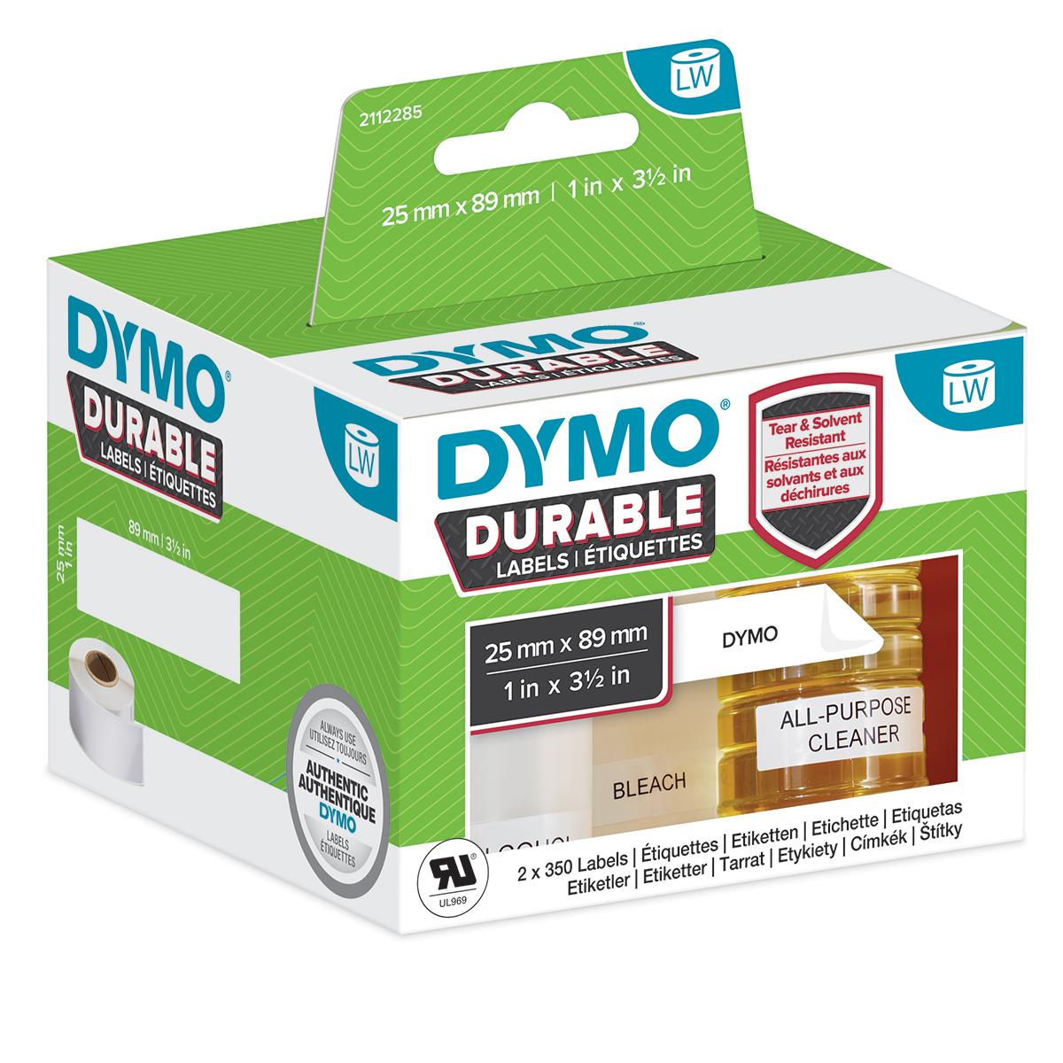 Dymo 2112285 LW Durable shelving label 25mm x 89mm Black on White