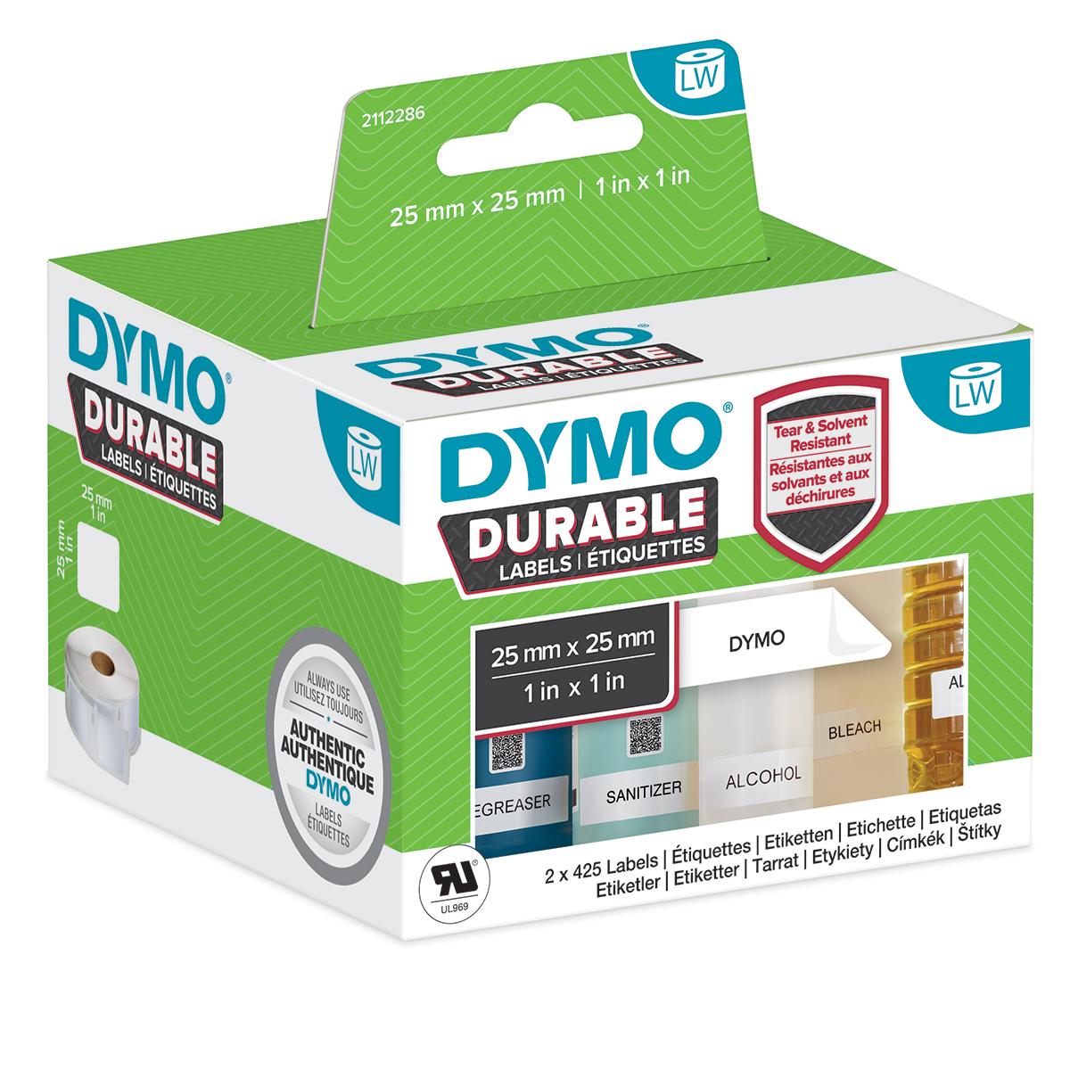 Dymo 2112286 LW Durable square multi-purpose 25mm x 25mm Black on White