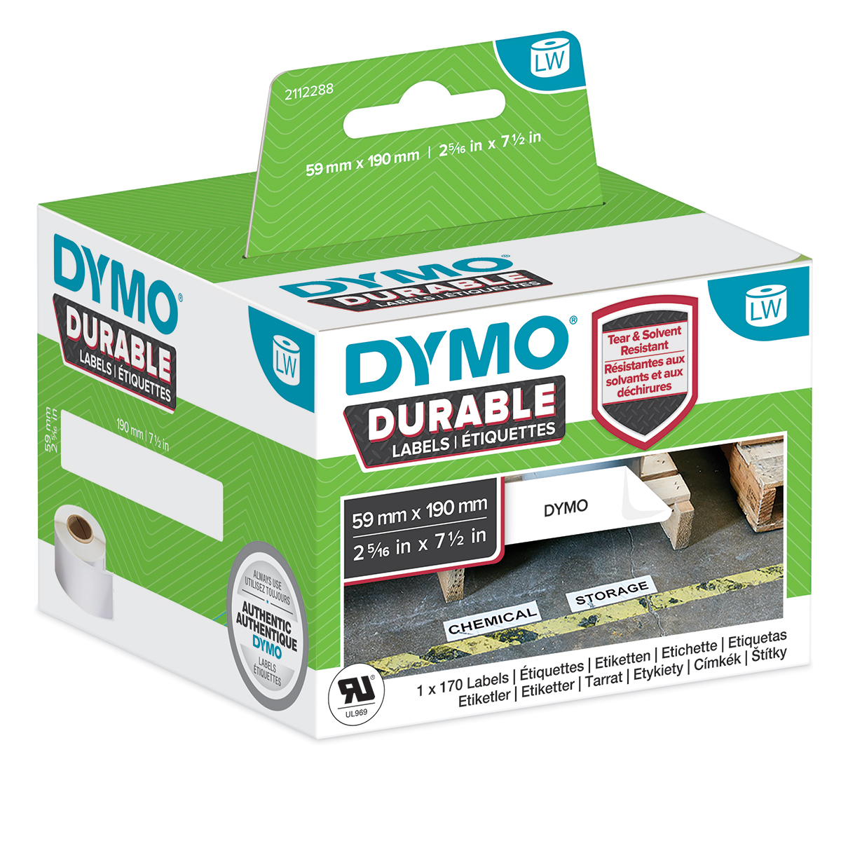 Dymo 2112288 LW Durable Large Shelving label 59mm x 190mm Black on White