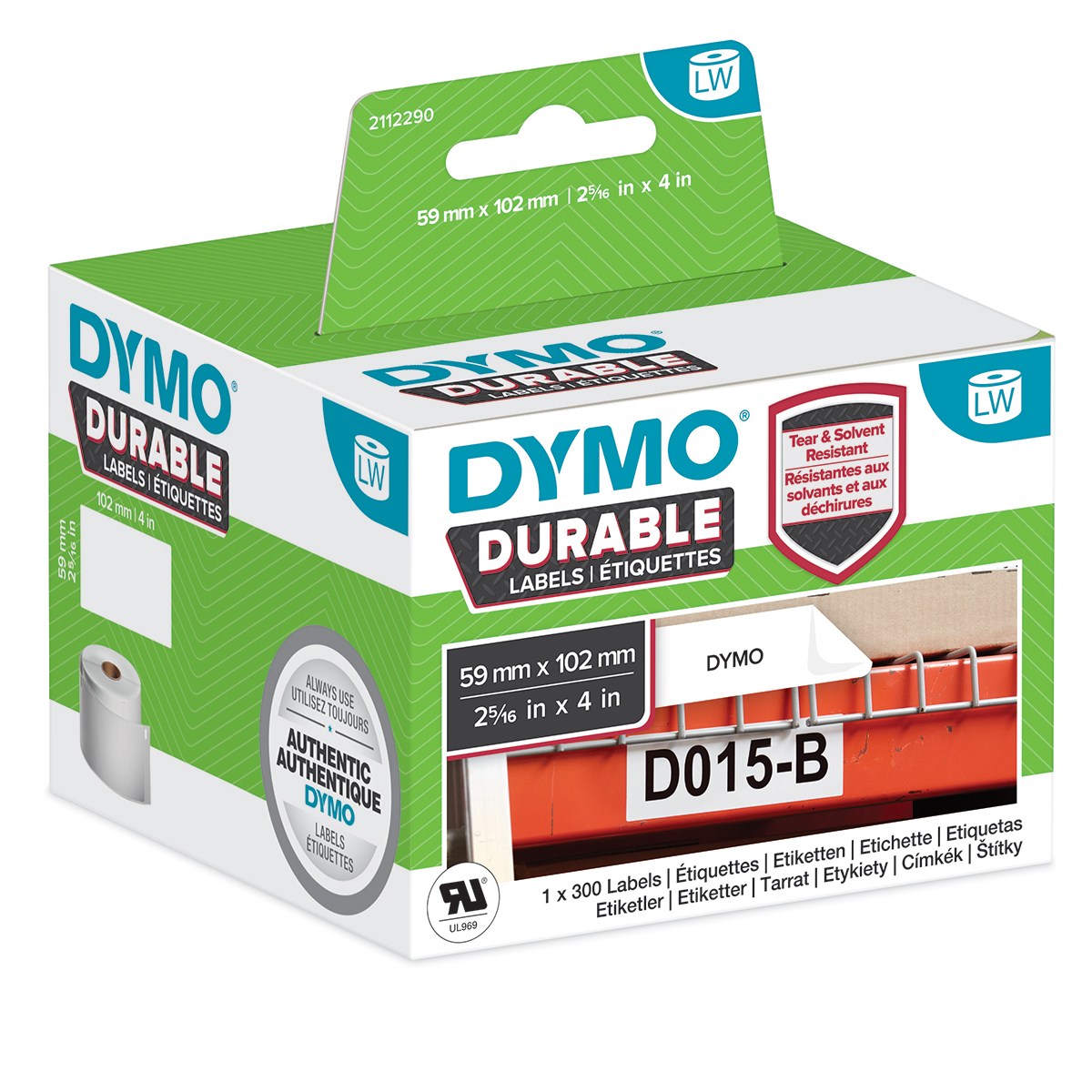 Dymo 2112290 LW Durable shipping label 59mm x 102mm Black on White