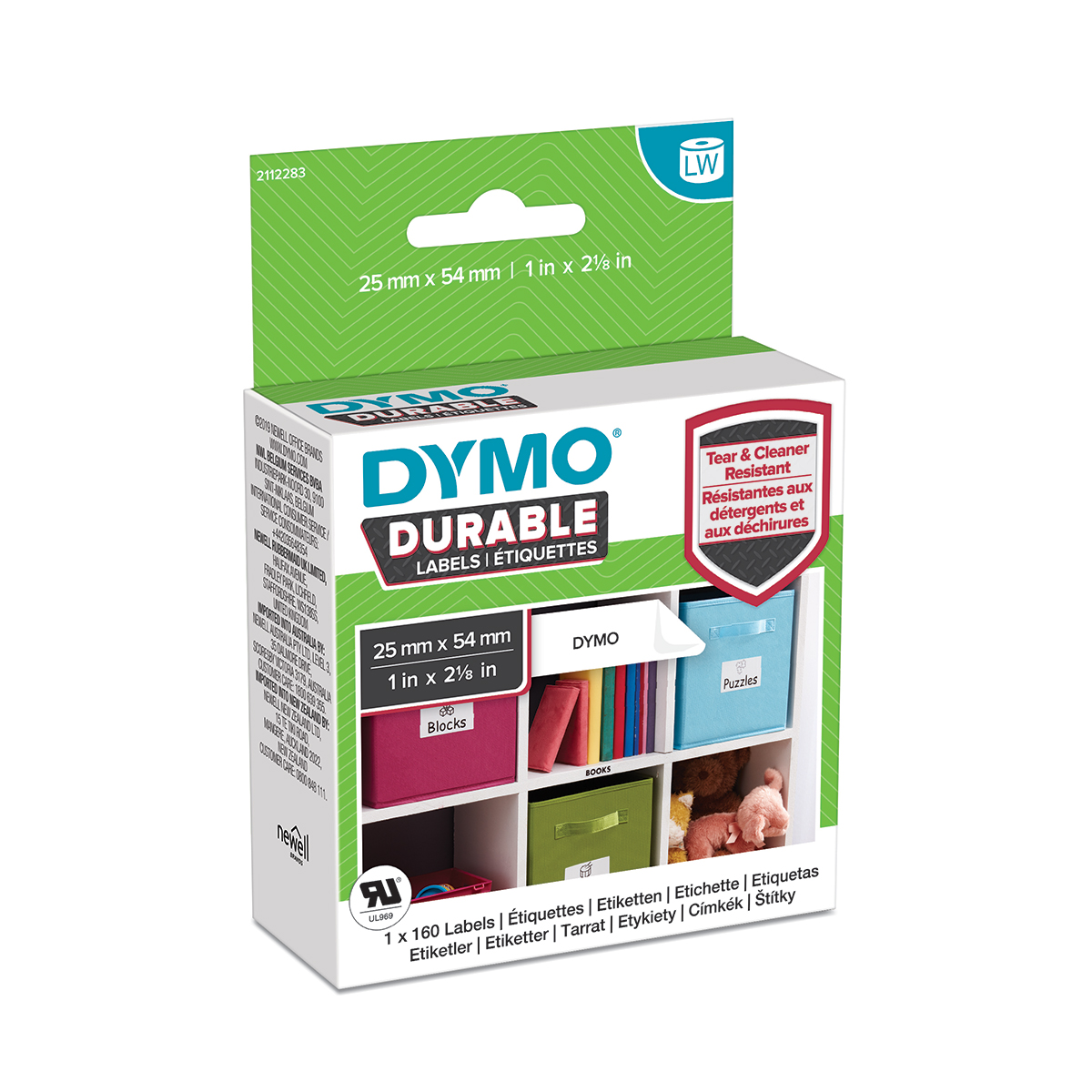 Dymo 1976411 LW Durable Small Multi Purpose Label 25mm x 54mm Black on White