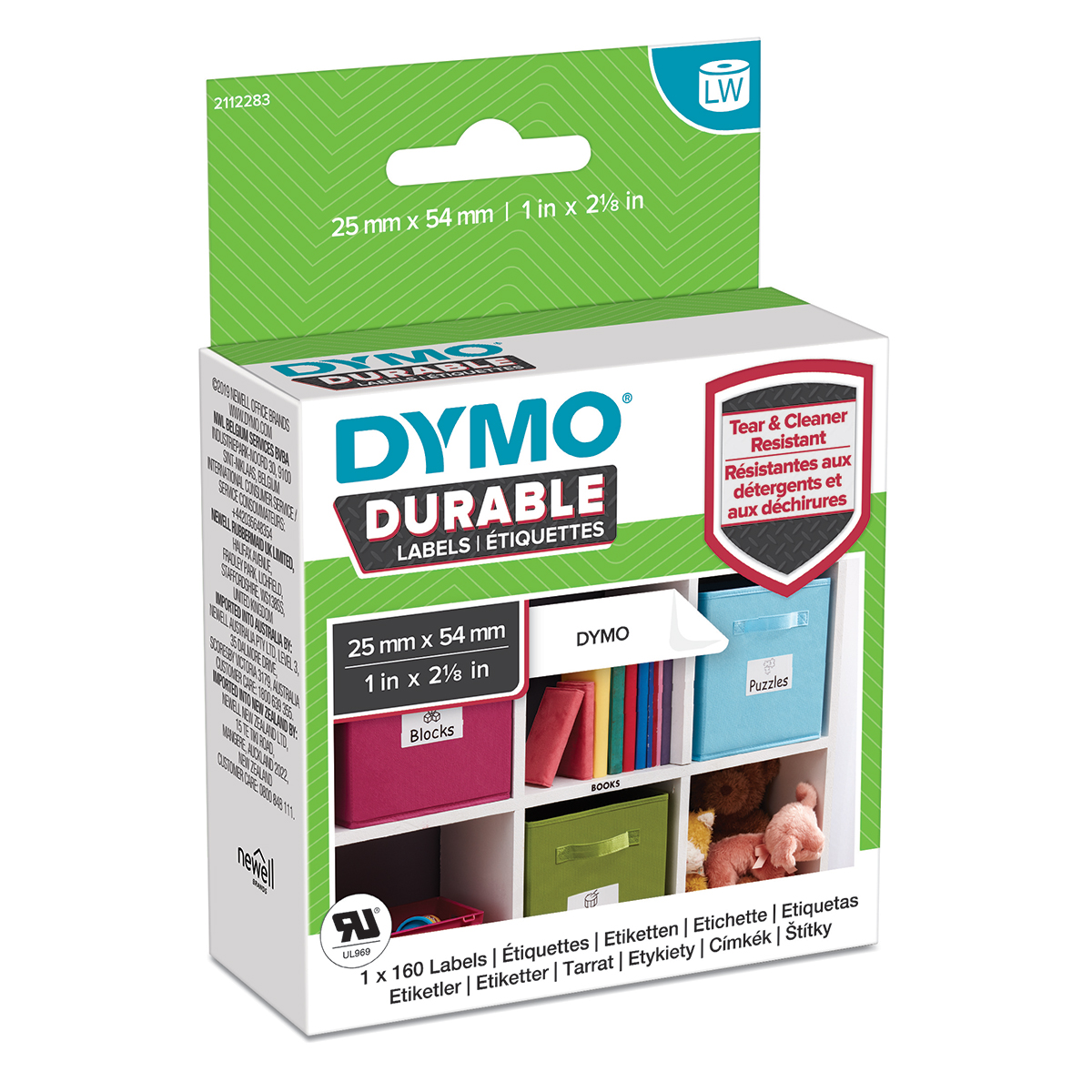 Dymo 2112283 LW Durable Small Multi Purpose Label 25mm x 54mm Black on White