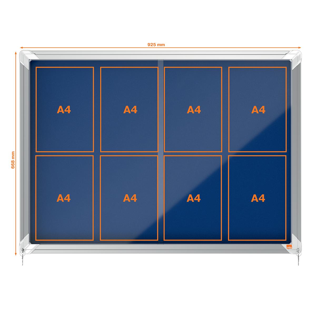 Nobo 1902565 Internal Glazed Case 8 x A4 Cork and Blue Felt Sliding Door