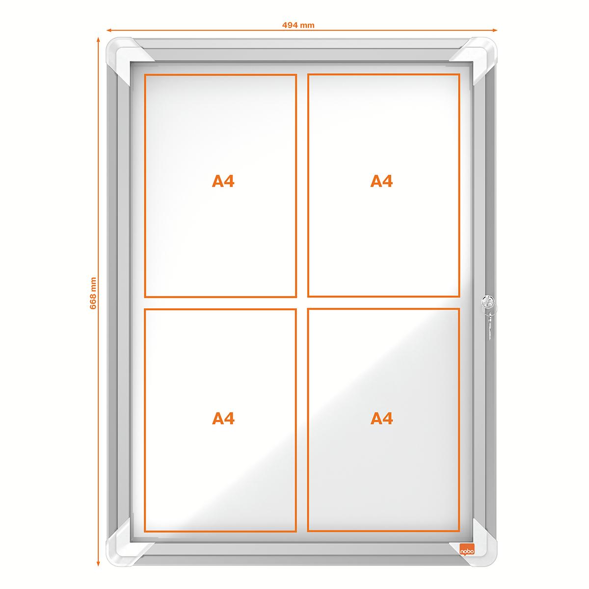 Nobo 1902577 External Glazed Case Magnetic 4 x A4