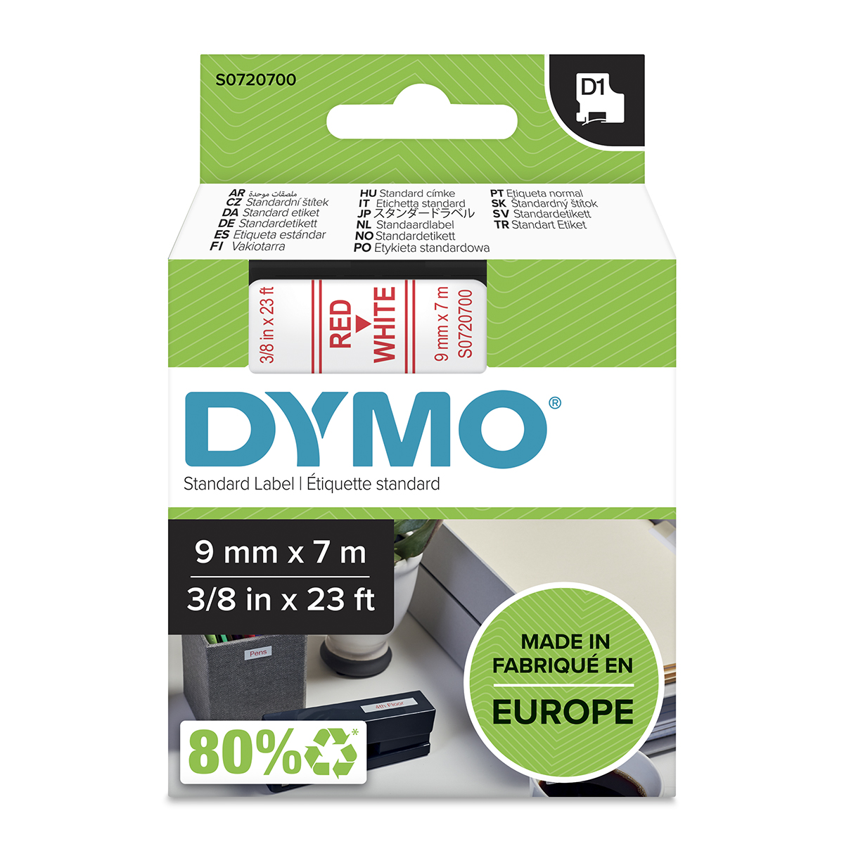 Dymo 40915 D1 9mm x 7m Red on White Tape