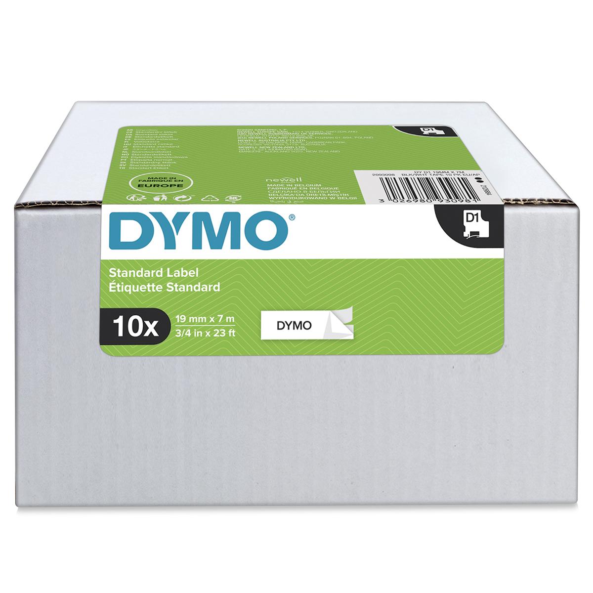 Dymo 45803 D1 19mm x 7m Black on White Tape 10 Pack
