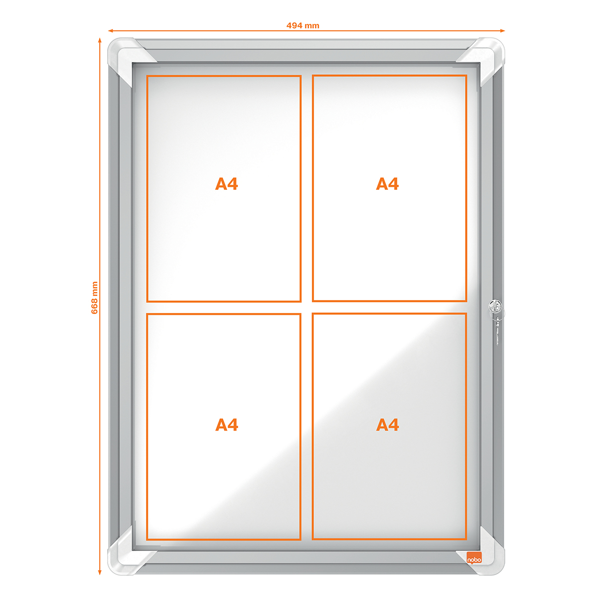 Nobo 1902557 Internal Glazed Case Magnetic 4 x A4