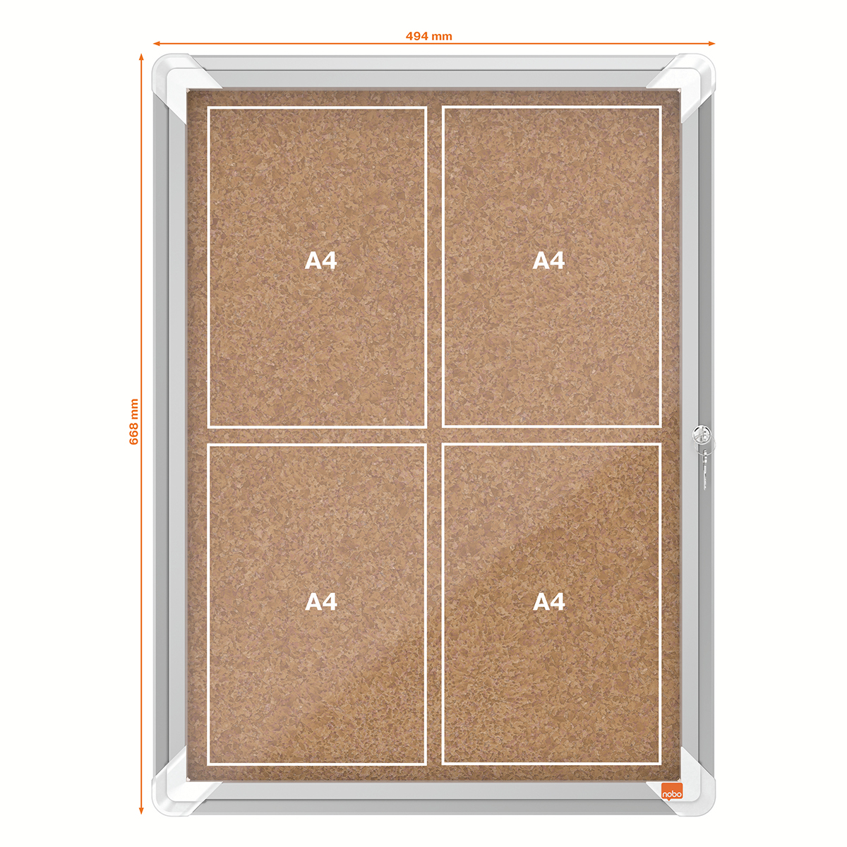 Nobo 1902561 Internal Glazed Case Cork 4 x A4