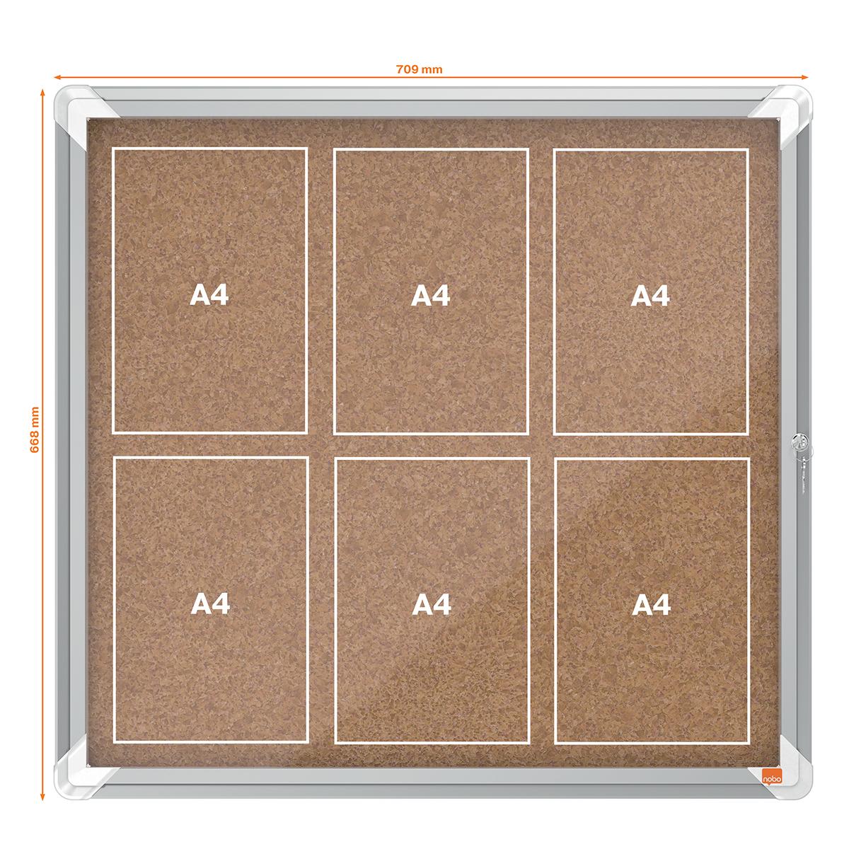 Nobo 1902562 Internal Glazed Case Cork 6 x A4