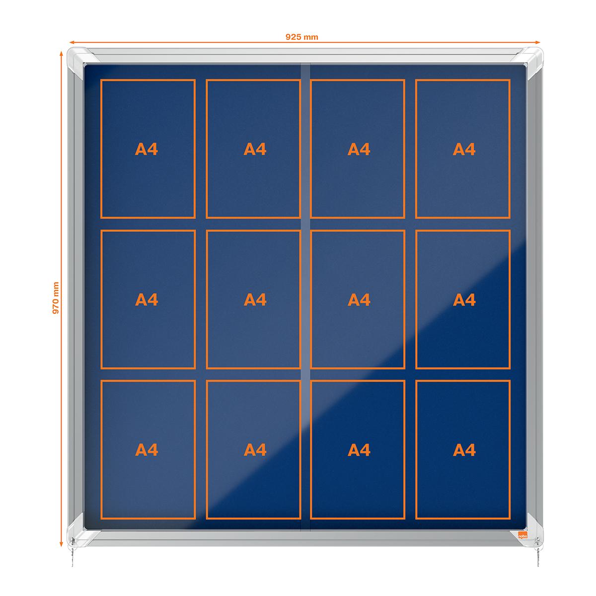 Nobo 1902566 Internal Glazed Case 12 x A4 Cork and Blue Felt Sliding Door
